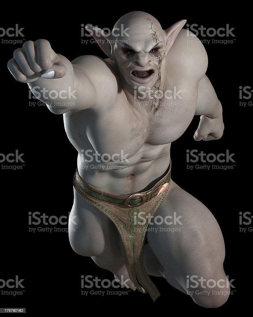 Goblin or troll fighting champion, leaping stock photo