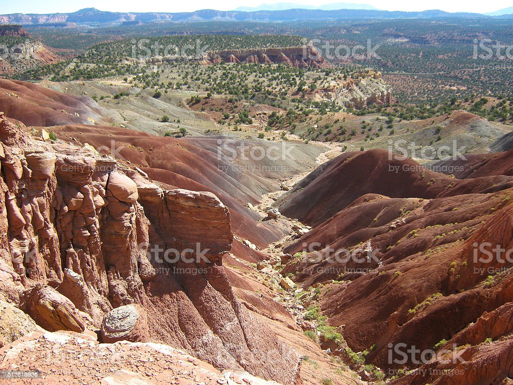 Goblin Rocks and Rainbow Hills stock photo