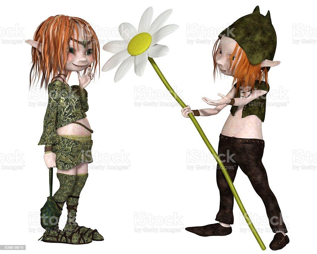 Goblin Valentine's Day Flower - fantasy illustration stock photo