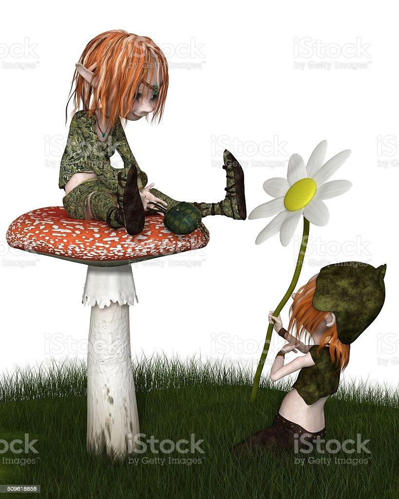 Goblin Valentine's Day Flower Gift - fantasy illustration stock photo