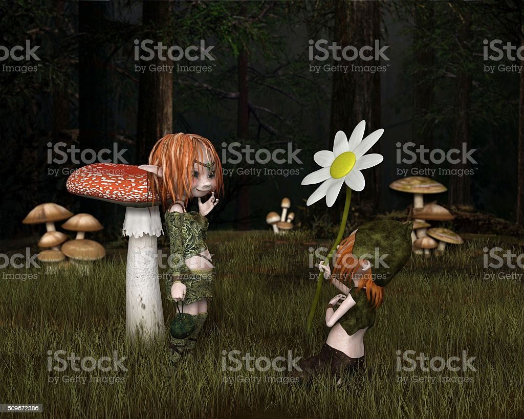 Goblin Valentine's Day in the Forest - fantasy illustration stock photo
