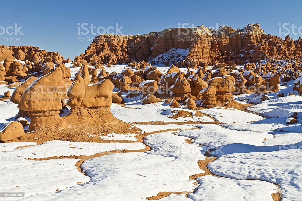 Goblin Valley Snow Rivulets royalty-free stock photo