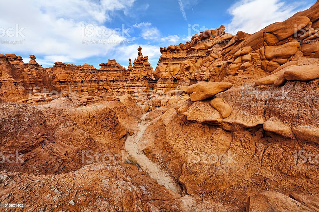 Goblin Valley State Park Hiking Trail Through the Hoodoos stock photo