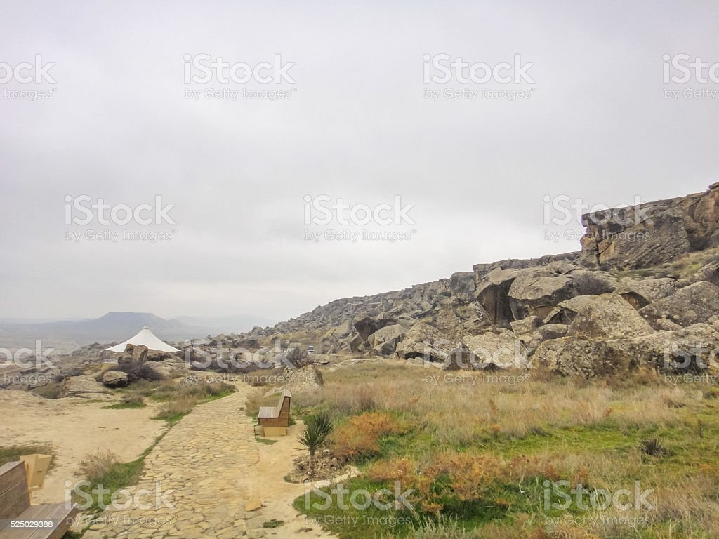 Gobustan National Park. Gobustan Rock Art Cultural Landscape in Azerbaijan stock photo