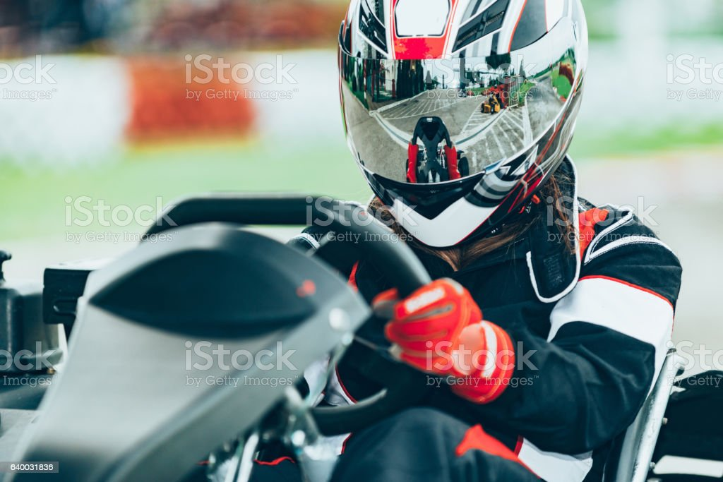 Go-cart champion stock photo