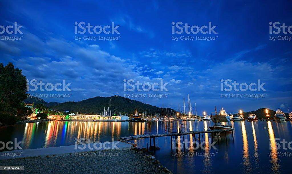 Gocek coast at dusk stock photo