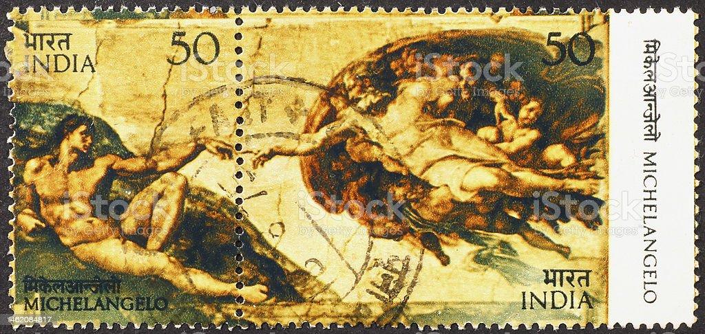 God & Adam by Michelangelo in Sistine Chapel stock photo