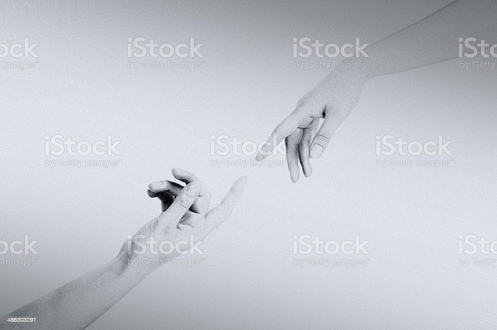 God and Adam's hands from the Sistine Chapel stock photo