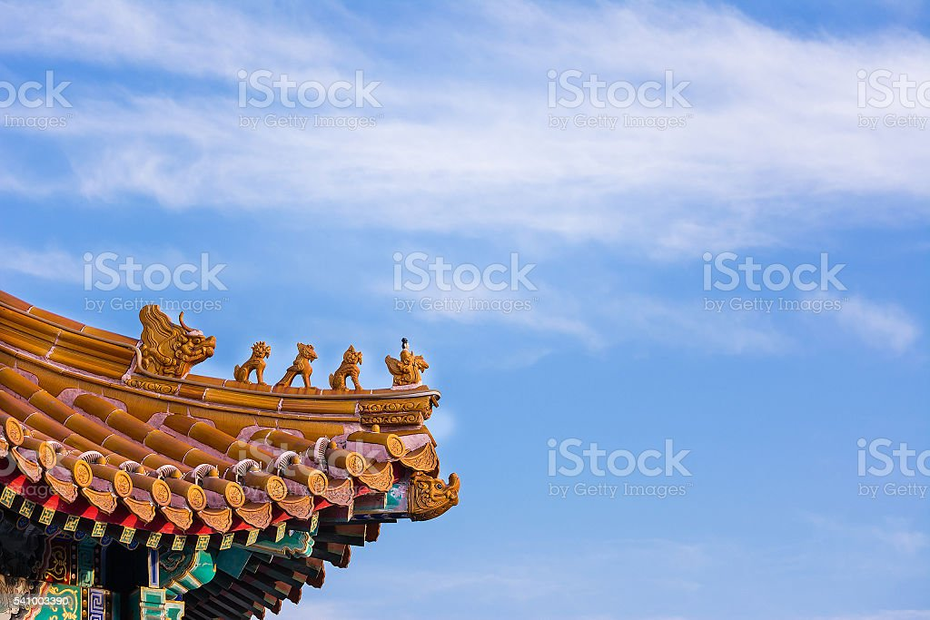 God and animal terracotta at the Chinese traditional roof top. stock photo