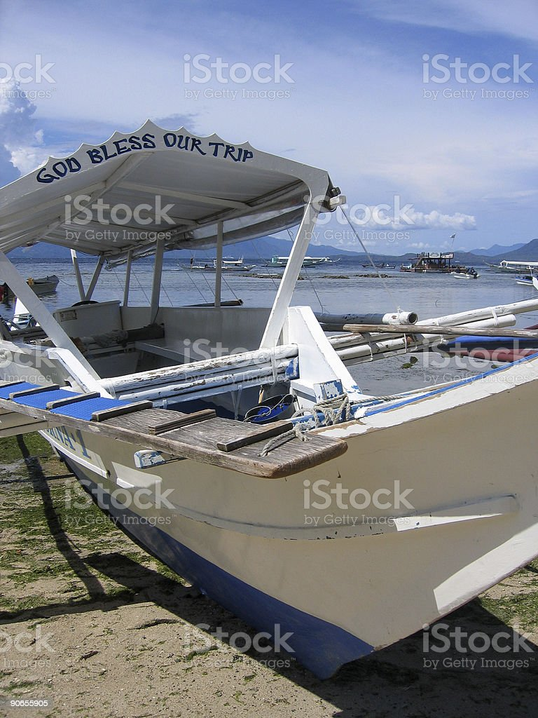 god bless our trip banka boat philippines royalty-free stock photo