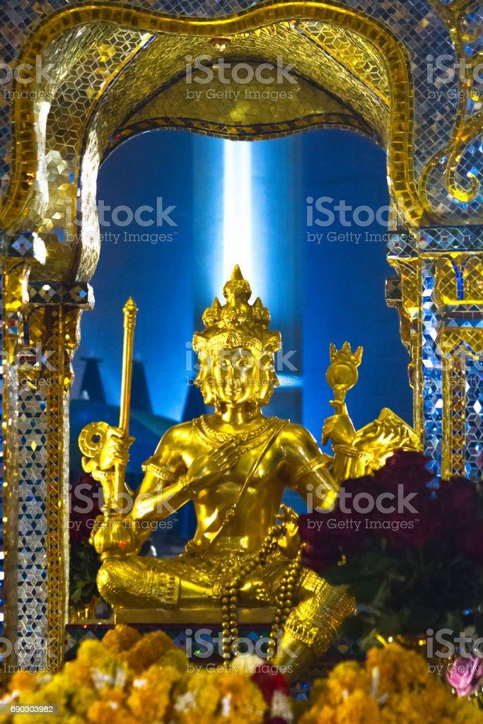 God Brahma at Erawan Shrine, Bangkok stock photo