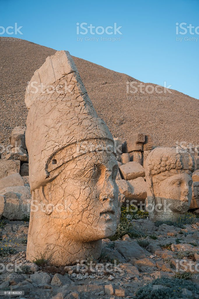 God heads on Mount Nemrut stock photo