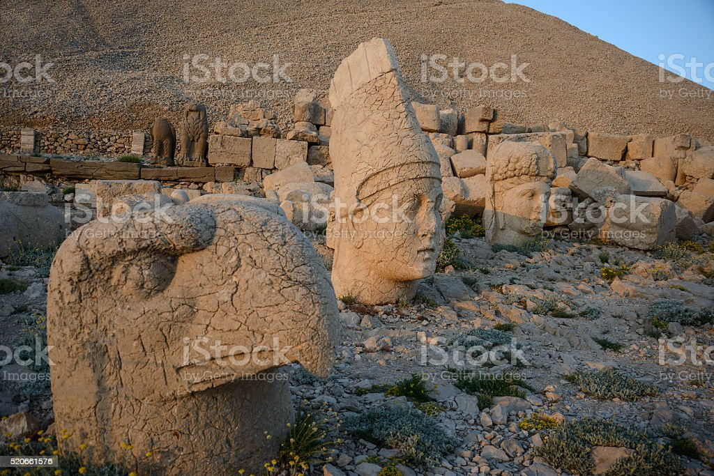 God heads on Nemrut Dag necropolis stock photo