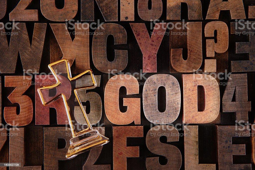 God - Letterpress letters stock photo