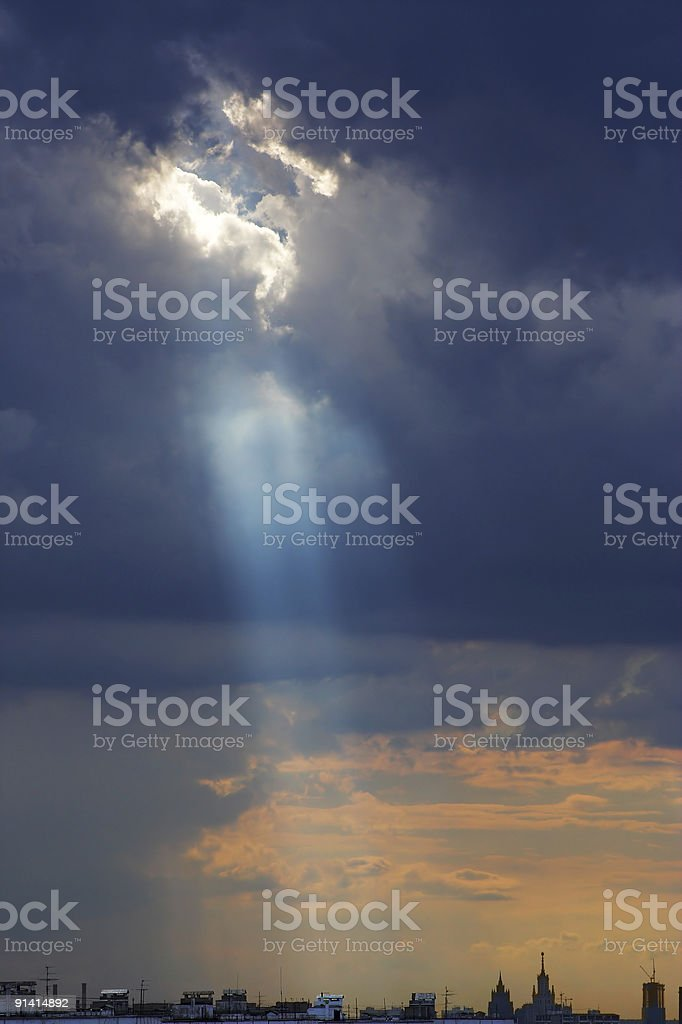 God looking at the city stock photo
