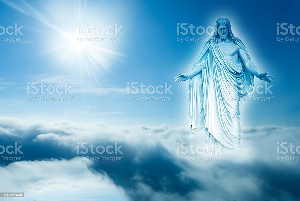God looks down from heaven concept of religion stock photo