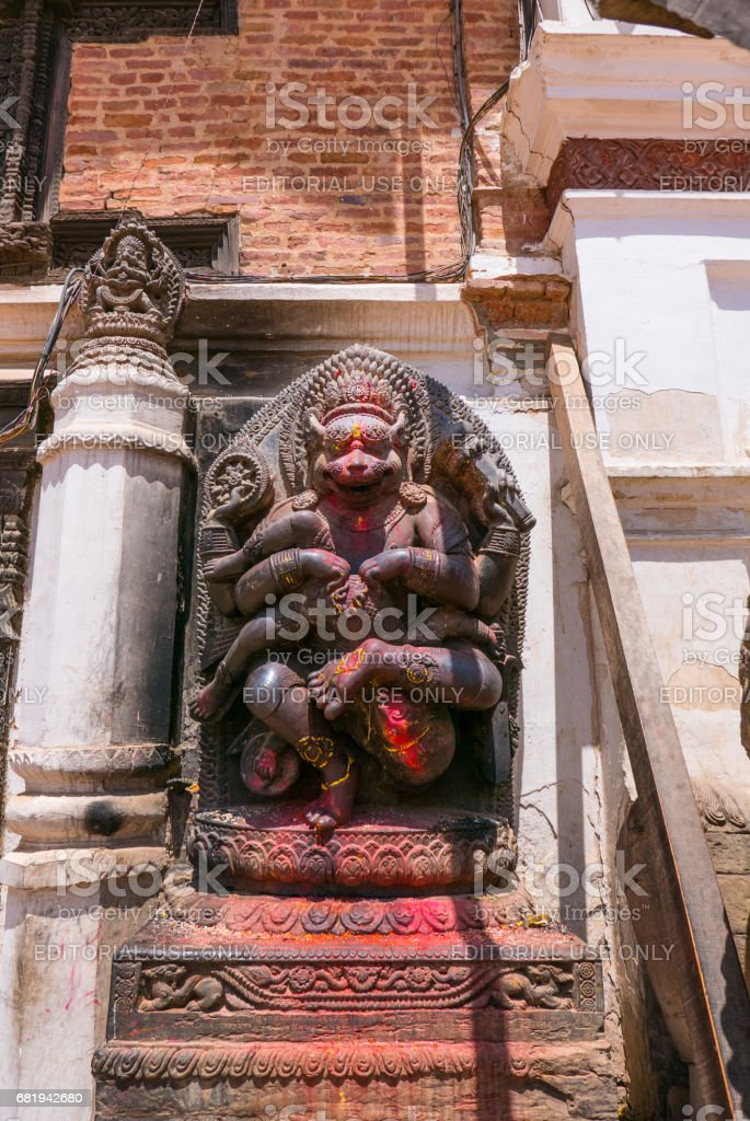 God statue in Bhaktapur stock photo