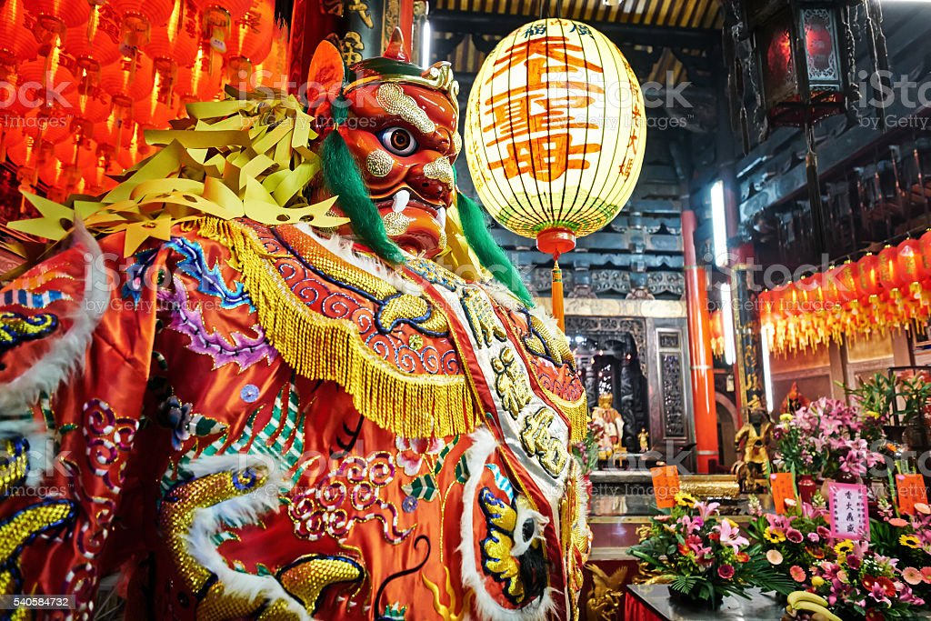 God statue in chinese temple in Taiwan stock photo