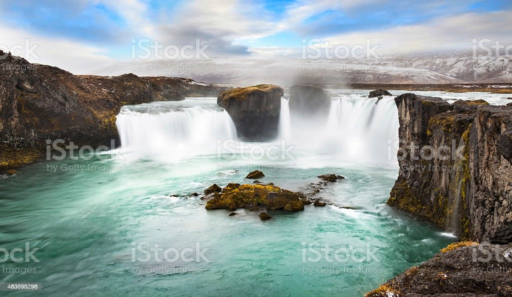 Godafoss is one of the most spectacular waterfalls stock photo