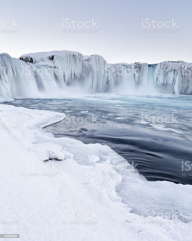 Godafoss waterfall frozen in winter, Iceland stock photo