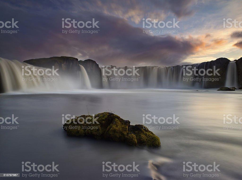 Godafoss waterfall Iceland in mid summer stock photo