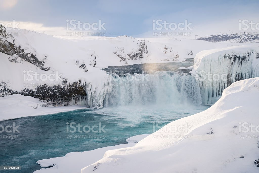 Godafoss waterfall in Iceland during winter stock photo