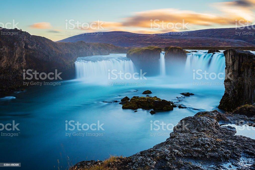Godafoss waterfall, long exposure, Iceland stock photo
