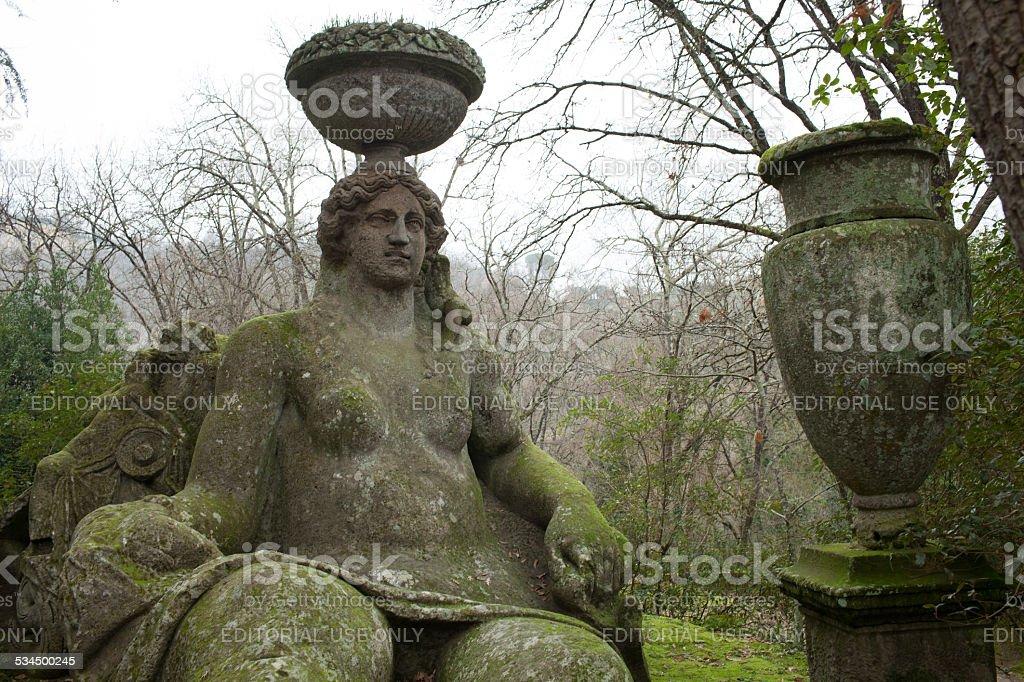 Goddess Ceres Statue, Bomarzo, Italy stock photo