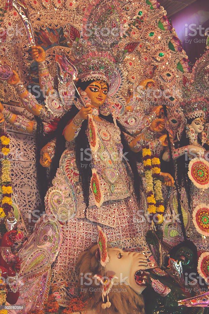 goddess durga statue - retro style stock photo