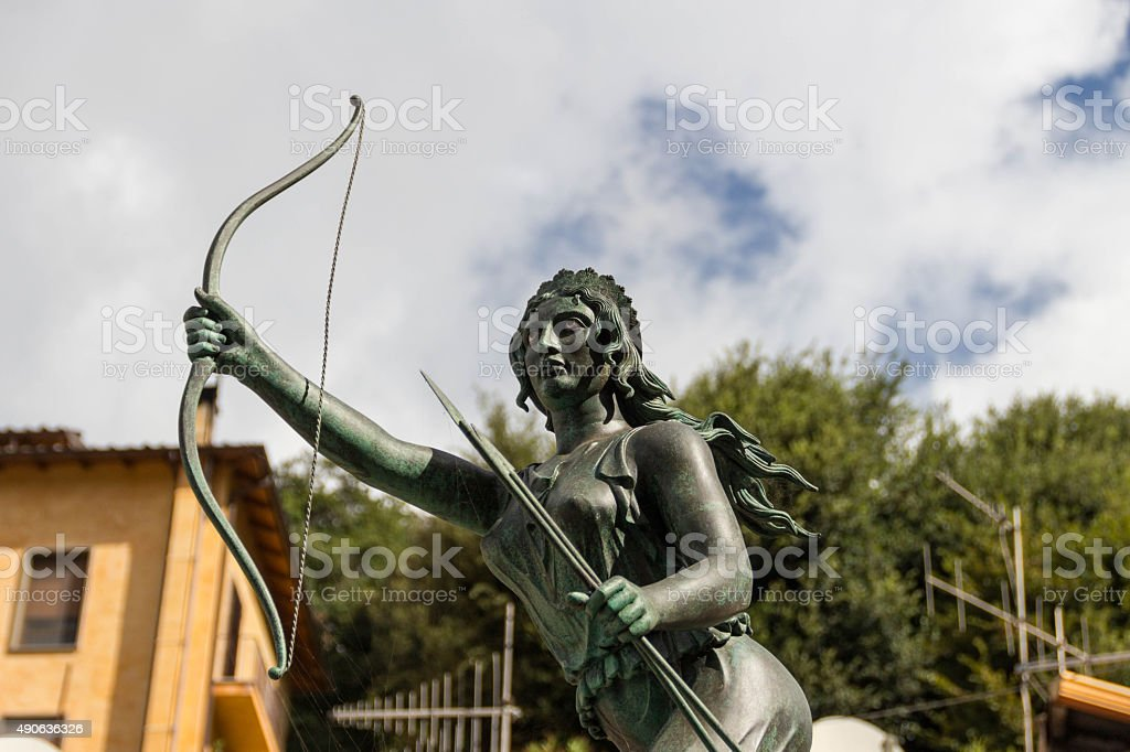 Goddess hunter diana fountain in Nemi 2 stock photo