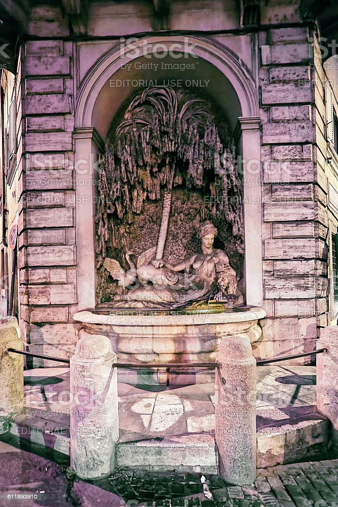 Goddess Juno bas relief of Four fountains building in Rome stock photo