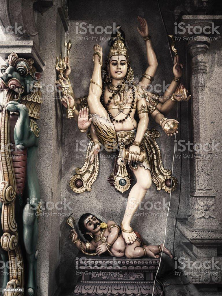 Goddess Kali dancing over Lord Shiva stock photo