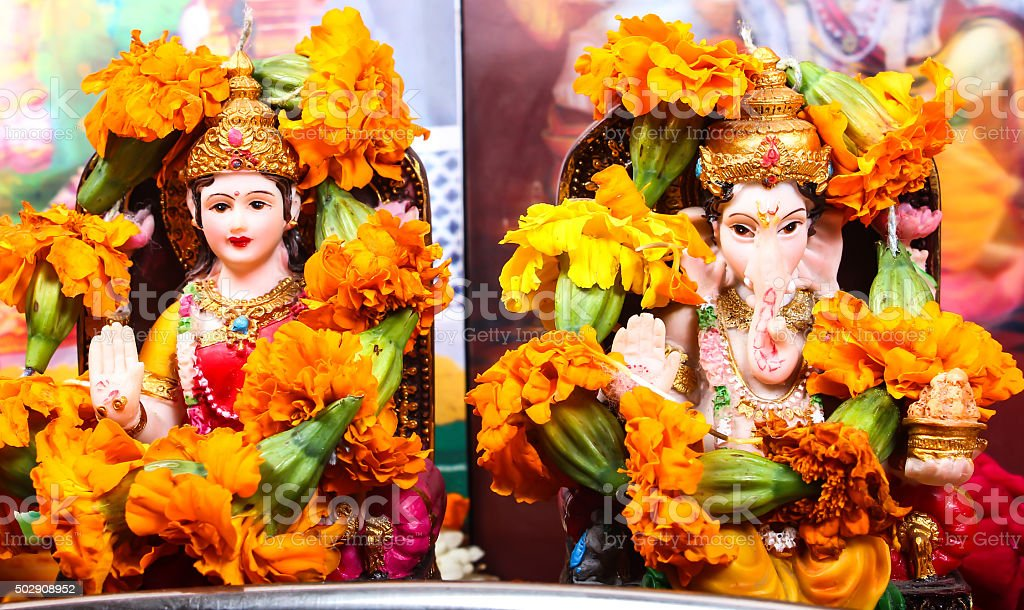 Goddess Lakshmi and Lord Ganesha stock photo