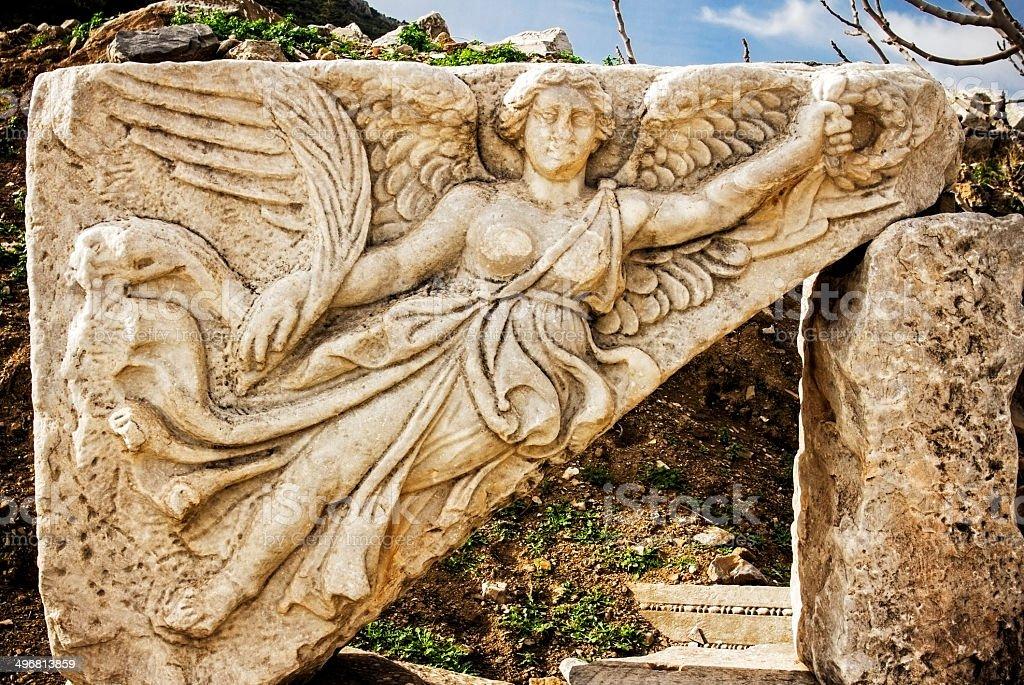Goddess Nike at Ephesus stock photo