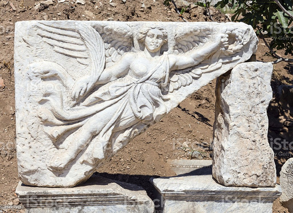 Goddess Nike sculpture at the ruins of ancient Ephesus, Turkey royalty-free stock photo