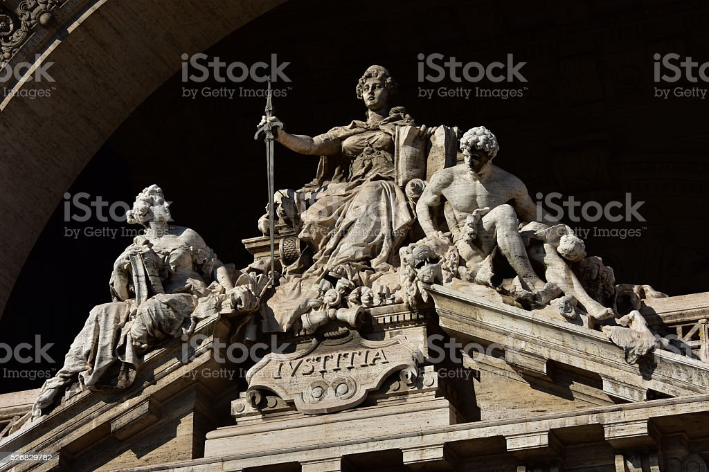 Goddess of Justice with sword stock photo