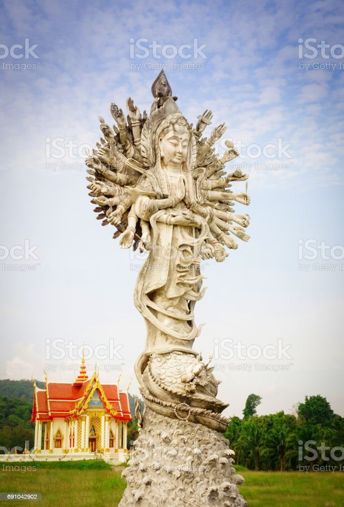 Goddess of mercy with sky background stock photo