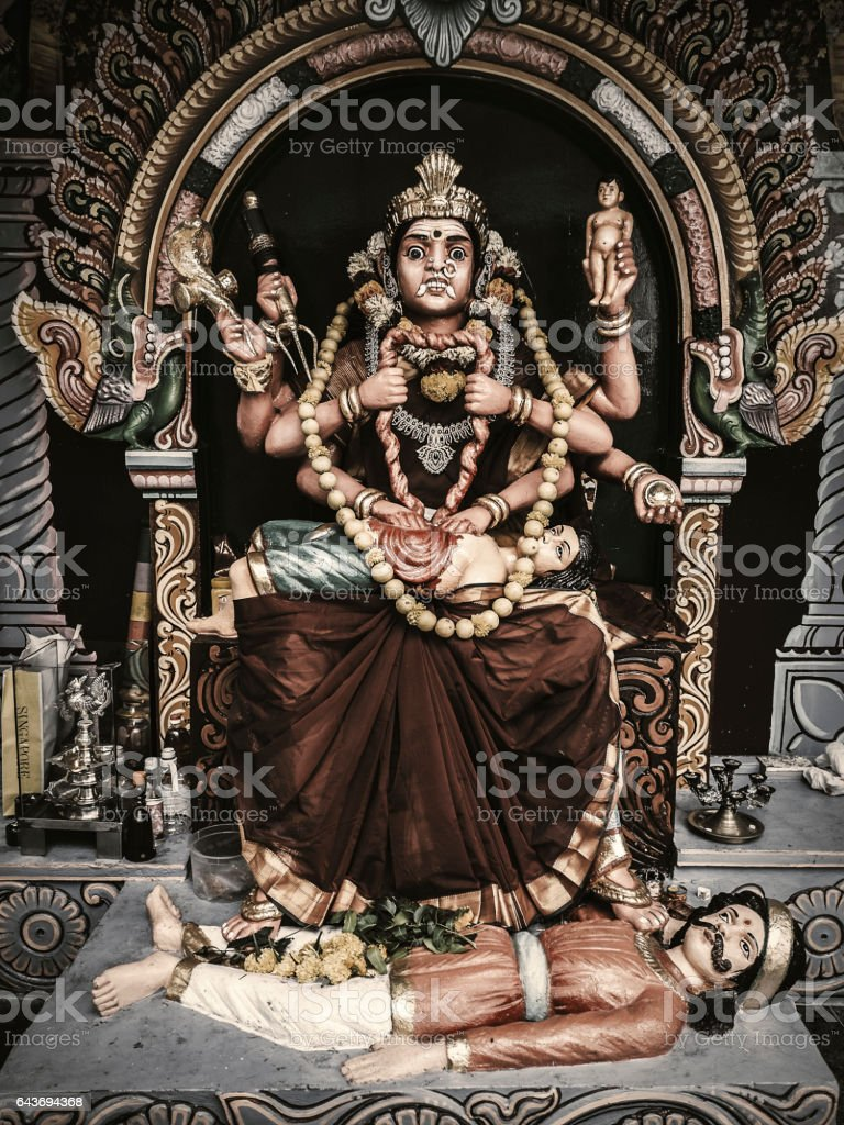 Goddess Periyachi in Sri Vadapathira Kaliamman Temple Singapore stock photo