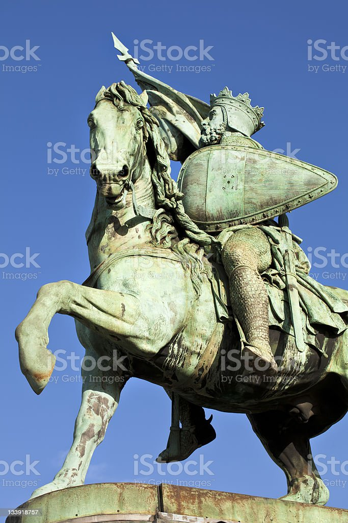 Godfrey Bouillon Statue in Brussels stock photo