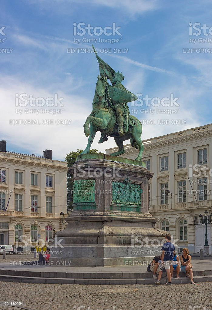 Godfrey of Bouillon equestrian statue in Brussels, Belgium stock photo