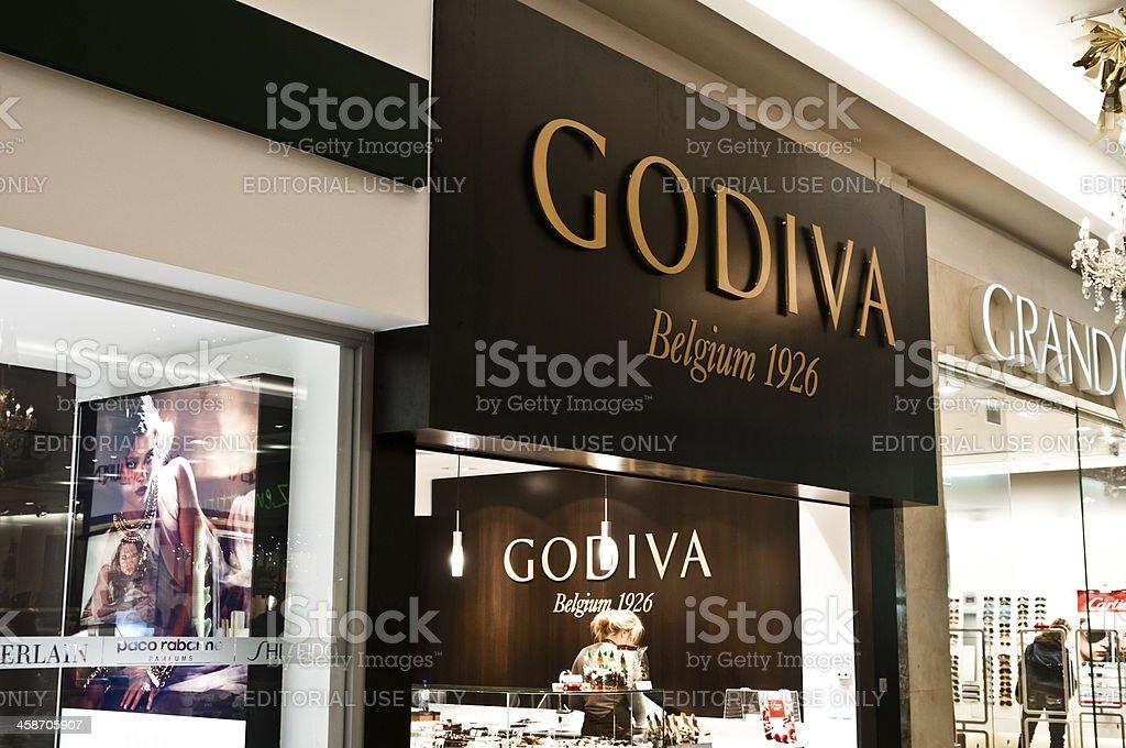 Godiva chocolate brand name over a shop entrance stock photo