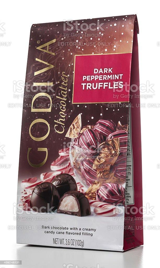 Godiva Chocolatier Dark Peppermint Truffles stock photo