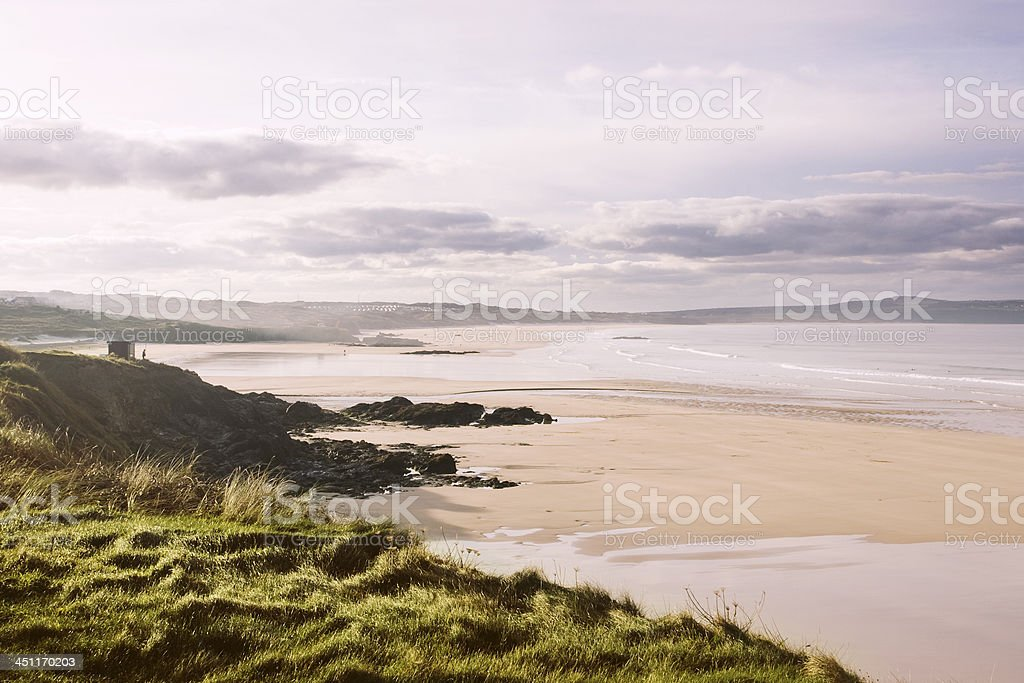Godrevy and Gwithain beach on the north coast of Cornwall stock photo