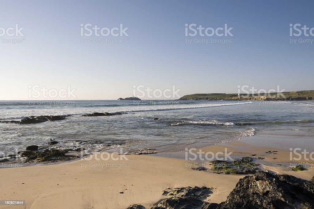 Godrevy beach and rocks on the north coast of Cornwall royalty-free stock photo
