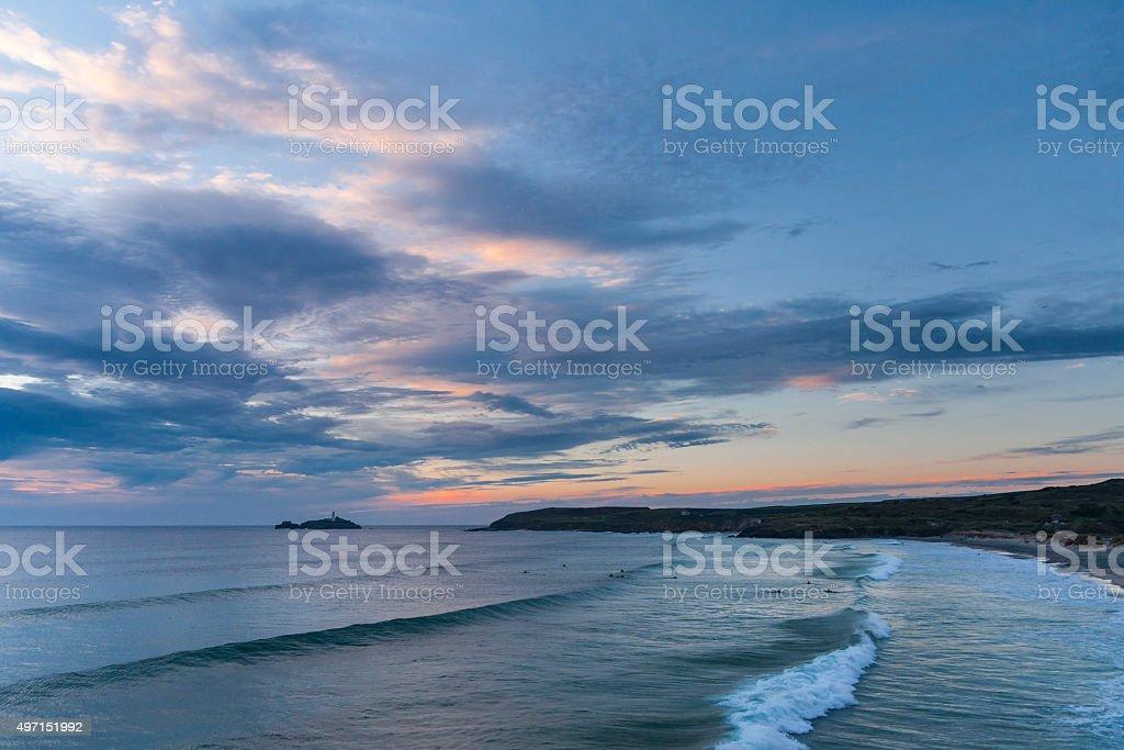 Godrevy beach at dusk on the north coast of Cornwall stock photo
