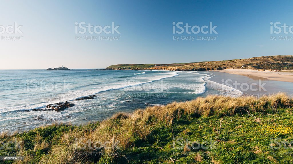 Godrevy beach near St Ives on the coast of Cornwall stock photo
