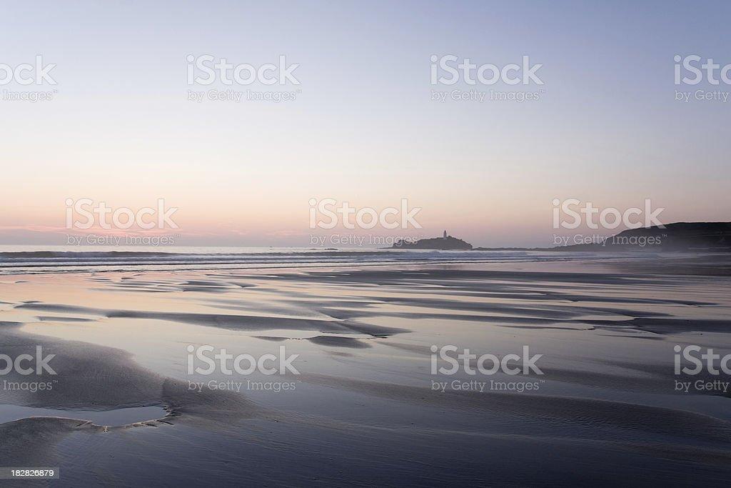 Godrevy beach on the north coast of Cornwall at dusk royalty-free stock photo