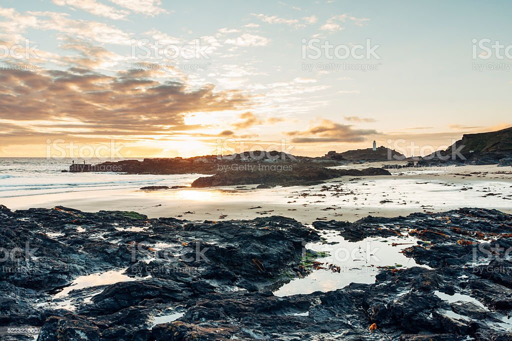 Godrevy coastline and lighthouse near St Ives in Cornwall stock photo