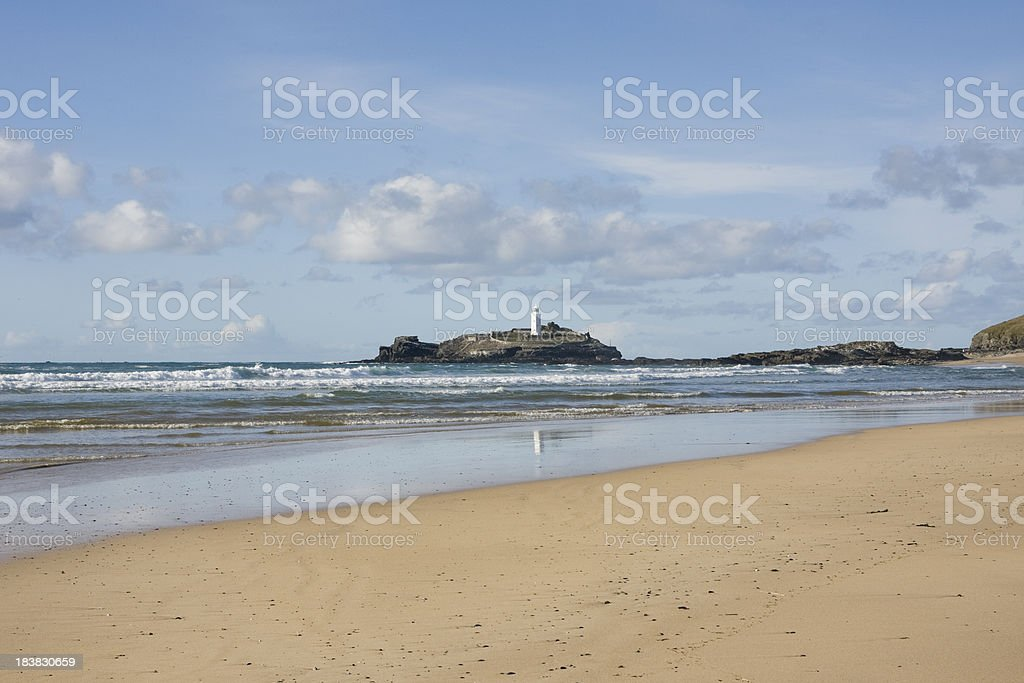 Godrevy lighthouse and beach on the north coast of Cornwall stock photo