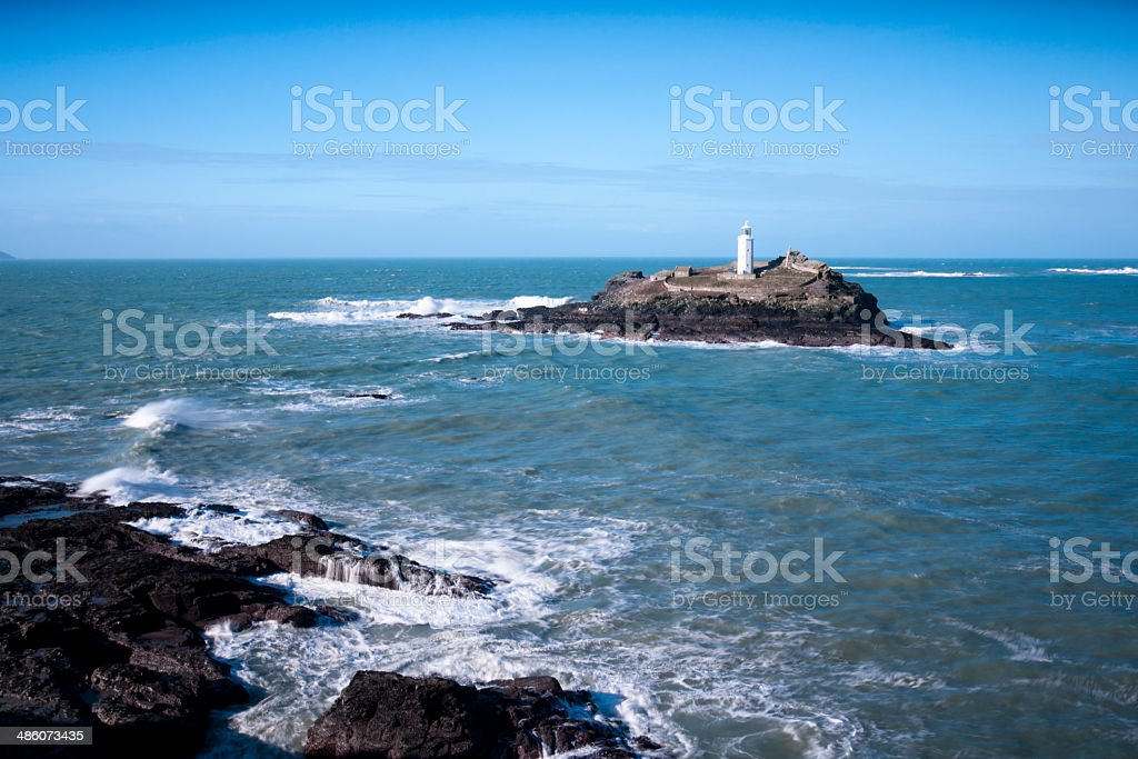 Godrevy Lighthouse in Cornwall on a sunny day stock photo
